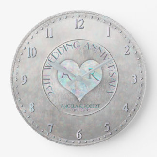 Reloj Redondo Grande Aniversario de boda de plata del monograma del