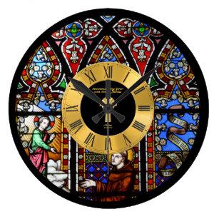 Reloj Redondo Grande Aniversario de la 50° Ordenación Vidrio Manchado