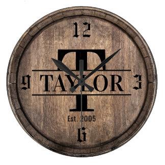 Reloj Redondo Grande Apellido inicial del vintage del monograma