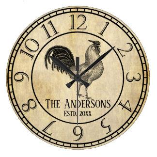 Reloj Redondo Grande Apellido rústico del gallo del estilo del vintage