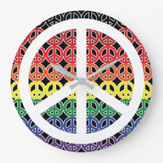 Reloj Redondo Grande Arco iris del signo de la paz en negro