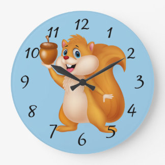Reloj Redondo Grande Ardilla del dibujo animado con la bellota