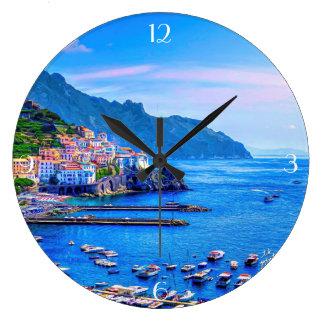 Reloj Redondo Grande Arte colorido de la foto de Amalfi Italia Europa