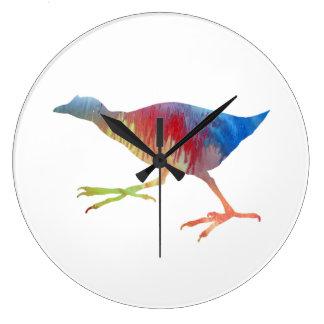 Reloj Redondo Grande Arte de Gallinule/de la polla de agua