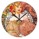 Reloj Redondo Grande Arte floral Nouveau del vintage del ensueño de