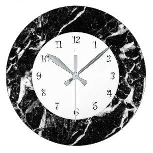 Reloj Redondo Grande Aspecto De Mármol Blanco Y Negro