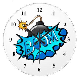 Reloj Redondo Grande ¡Auge cómico de la bomba del estilo del arte pop!