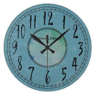 Reloj Redondo Grande Azul del Cornflower con la erosión