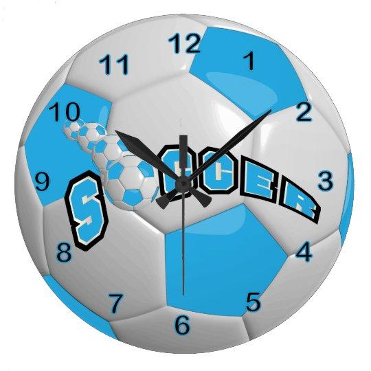 Reloj Redondo Grande Azules cielos del balón de fútbol el |