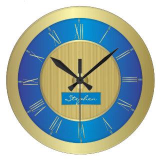Reloj Redondo Grande Azules marinos y oro
