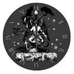 Reloj Redondo Grande Bahomet gótico con un gato y una avena