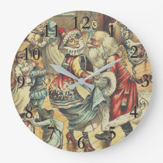 Reloj Redondo Grande Baile con la fiesta de Navidad de Papá Noel