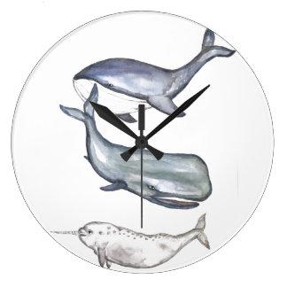 Reloj Redondo Grande Ballenas, familia de ballena, ballena de joroba,