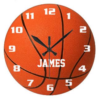 Reloj Redondo Grande Baloncesto del monograma