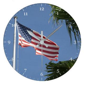 Reloj Redondo Grande Bandera americana
