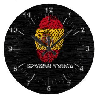 Reloj Redondo Grande Bandera de la huella dactilar del tacto del