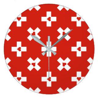 Reloj Redondo Grande Bandera de Suiza con el modelo del corazón