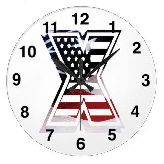 Reloj Redondo Grande Bandera patriótica inicial de los E.E.U.U. del
