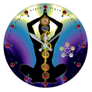 Reloj Redondo Grande BARRA de ASCLEPIUS 7 CHAKRAS, púrpura de la