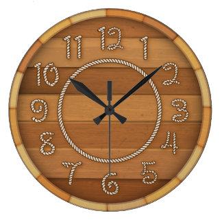 Reloj Redondo Grande Barril de cerveza de madera del tiempo occidental