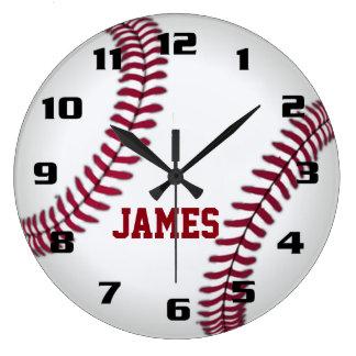 Reloj Redondo Grande Béisbol del monograma