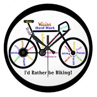 Reloj Redondo Grande Biking bastante, las bicis con palabra de