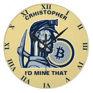 Reloj Redondo Grande Bitcoin que mina el vintage fresco divertido de