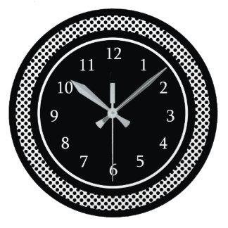 Reloj Redondo Grande Blanco y negro moderno