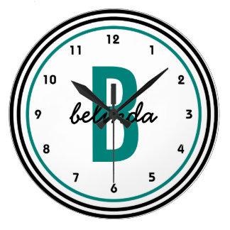 Reloj Redondo Grande Blanco y negro verde azulado del monograma