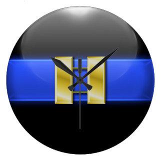 Reloj Redondo Grande Blue Line fino - barras del capitán de policía del