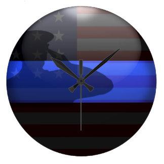 Reloj Redondo Grande Blue Line fino - saludo de bandera