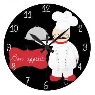Reloj Redondo Grande ¡Bon rojo y blanco negro retro Appetit del