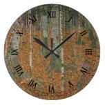 Reloj Redondo Grande Bosque Birch por Gustav Klimt, Art Nouveau vintage