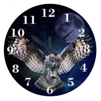 Reloj Redondo Grande Búho en vuelo