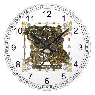 Reloj Redondo Grande Búho mecánico de Steampunk
