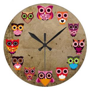 Reloj Redondo Grande Búhos rústicos hermosos