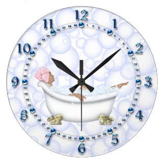 Reloj Redondo Grande Burbujas brillantes azules del cuarto de baño de
