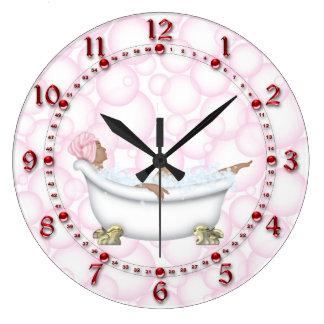 Reloj Redondo Grande Burbujas brillantes de los números del cuarto de