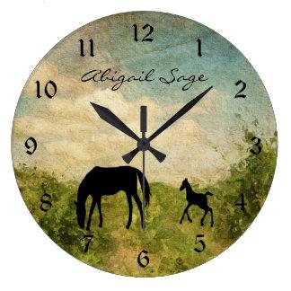 Reloj Redondo Grande Caballo hermoso personalizado de la yegua y del