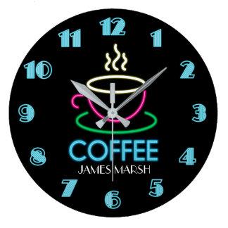 Reloj Redondo Grande Café retro del café de la señal de neón