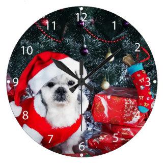 Reloj Redondo Grande Caniche santa - perro del navidad - perro de Papá