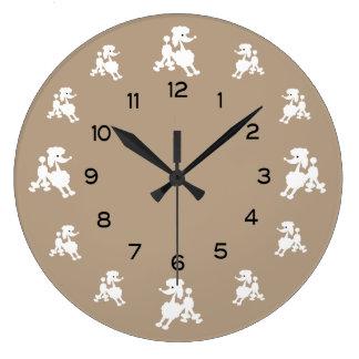 Reloj Redondo Grande Caniches blancos