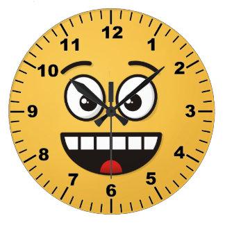 Reloj Redondo Grande Cara sonriente con la boca abierta
