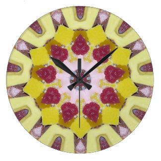 Reloj Redondo Grande Caramelo dulce, fractal cuidadosamente lleno