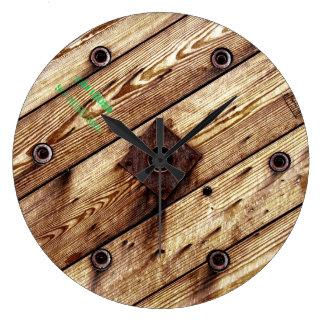 Reloj Redondo Grande Carrete de madera fresco del alambre