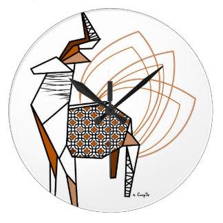 Reloj Redondo Grande Ciervo origami