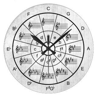 Reloj Redondo Grande Círculo de los músicos blancos del color de los
