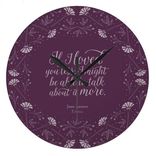 Reloj Redondo Grande Cita floral púrpura del amor del libro de Jane