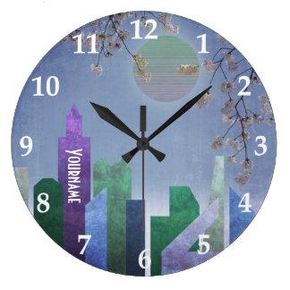 Reloj Redondo Grande Ciudad geométrica de la flor de cerezo de Sakura