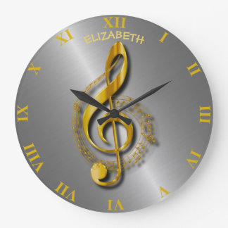 Reloj Redondo Grande Clef agudo de oro con las notas y las sombras